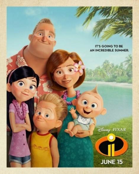 gli incredibili 2 poster pixar famiglia supereroi vacanza estate